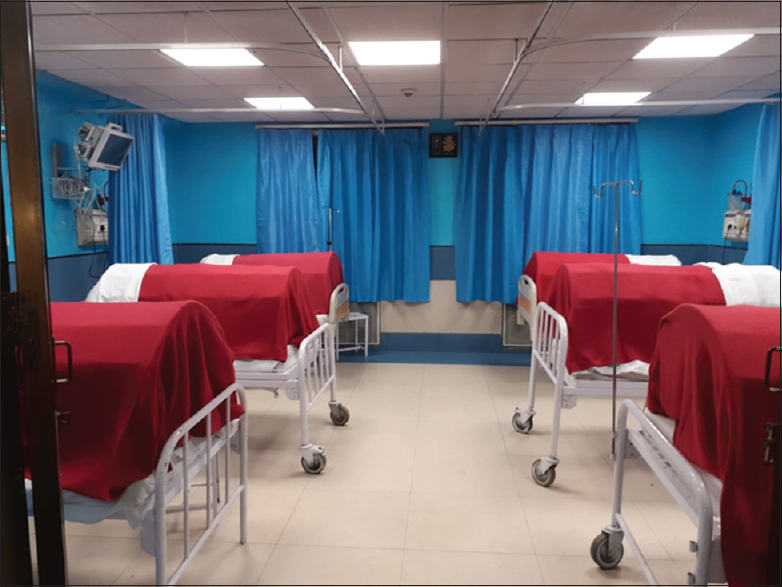 Figure 1: Burn ward cubical having six beds with monitors